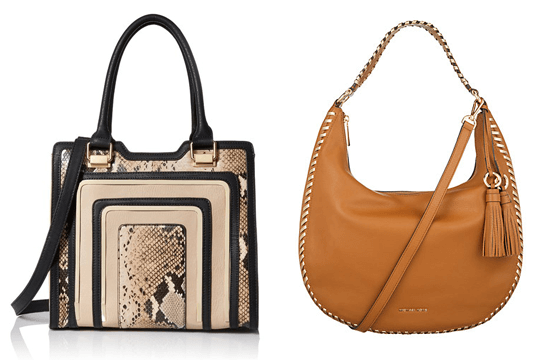 different shaped brown handbags