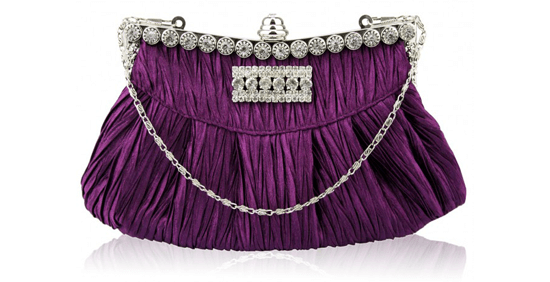 purple and silver embellished handbag