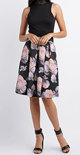 floral printed black skirt