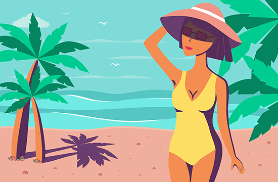 cartoon of lady at the beach