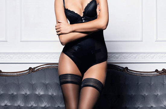 woman wearing black lingerie and stockings
