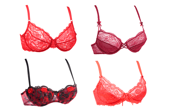 lace bras in shades of red