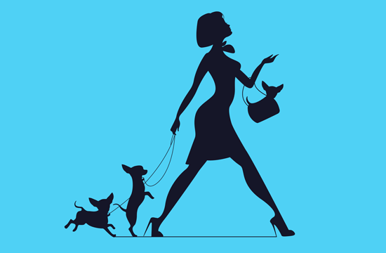 silhouette of woman with pet dogs