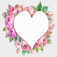 drawn heart with floral border