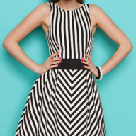 woman in a black and white dress