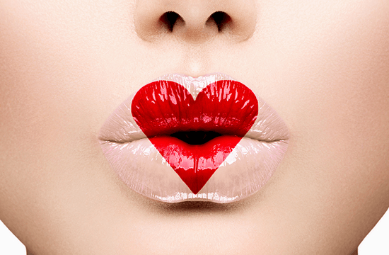 red heart on lips