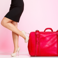 woman with a big red bag