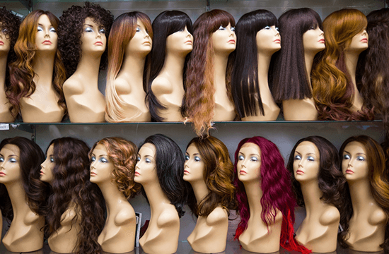 colored and styled wigs