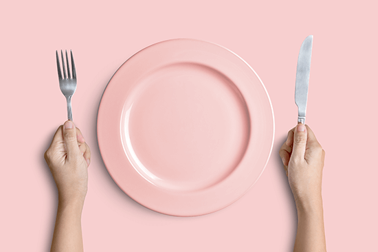 pink and silver tableware