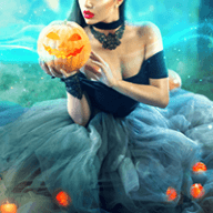 costumed lady holding Halloween pumpkin