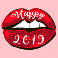 Happy 2019 text on red lips
