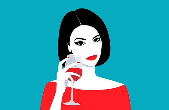 cartoon lady holding wine glass