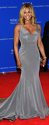 Laverne Cox in a grey gown