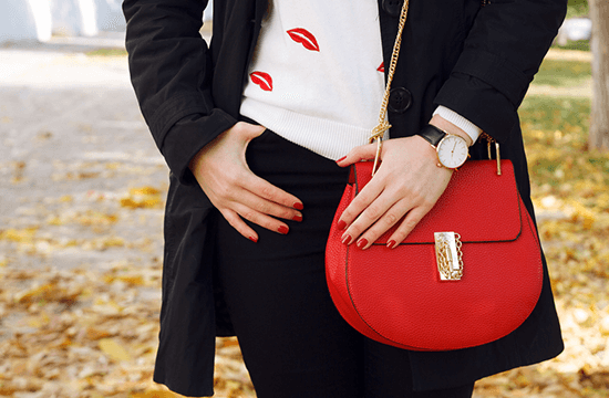 sexy and classic red handbag