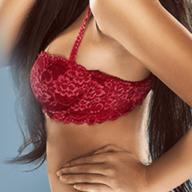 woman wearing red bra