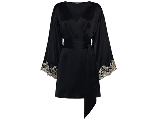 silky black sexy robe with embroidery