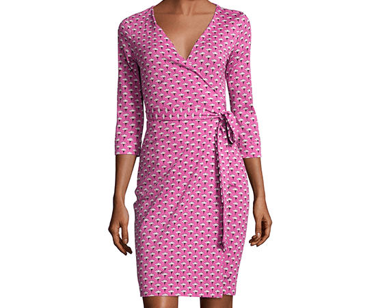pink wrap around dress