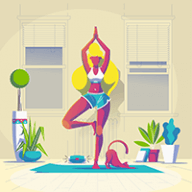 cartoon lady and cat doing yoga