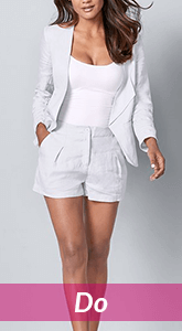 light colored shorts and blazer ensemble