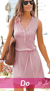 pink and white striped sleeveless dress