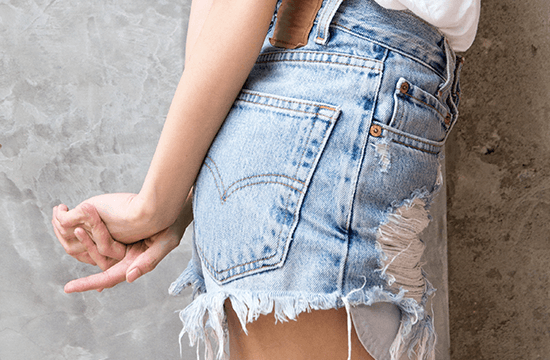 denim summer frayed shorts