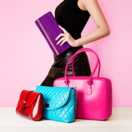 woman with 3 handbags